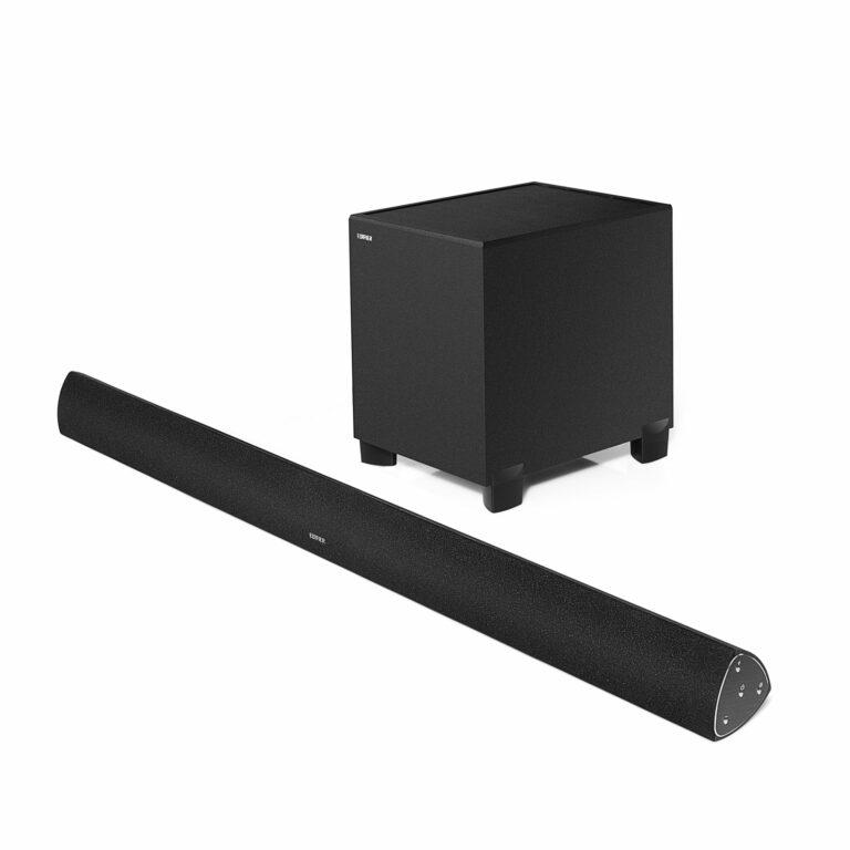 """BOXE EDIFIER soundbar, bluetooth 4.0, RMS: 145W (2 x 16W, 2 x 19W, 1 x 75W), woofer 8″, medii 2.75″, inalte 0.75″, frecv. raspuns 48Hz-20KHz, Line-in/AUX/optic/coax,tel wireless,dim1000x79x80mm, black, """"B7-BK"""" (include TV 1.5 lei)"""