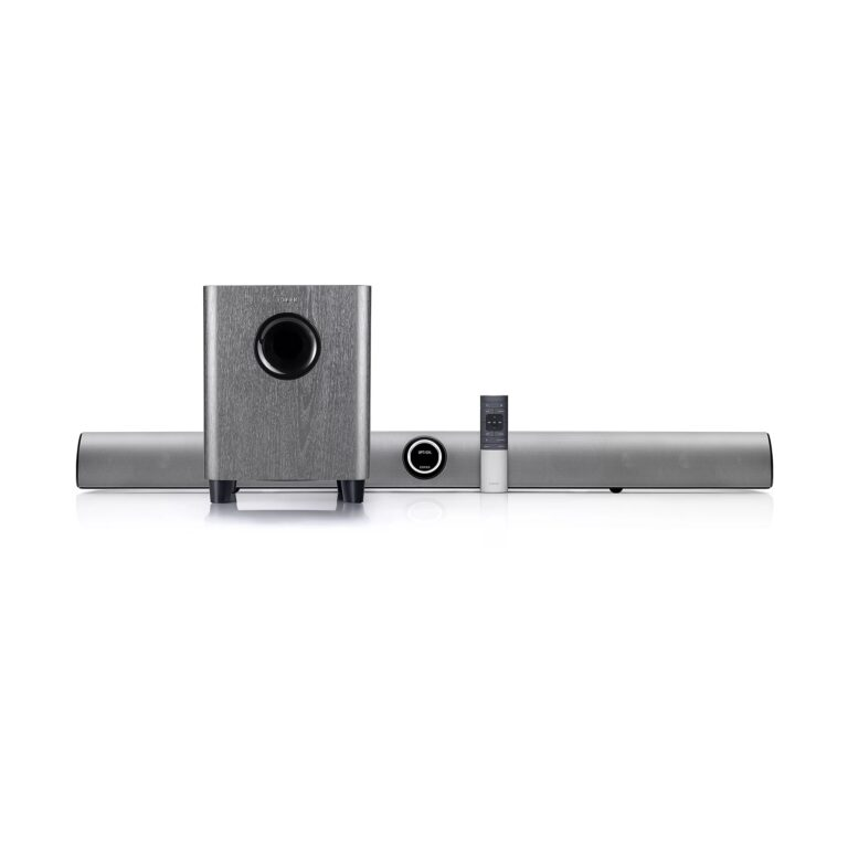 "BOXE EDIFIER soundbar, bluetooth 4.1, RMS: 154W (2 x 12W, 2 x 30W, 1 x 70W), woofer 8″, medii 2.75″, inalte 1″,frecv.raspuns45Hz-20KHz, HDMI/Line-in/AUX/optic/coax,telwireless,dim1060x88x108mm,sil-grey, ""B8-SG"" (include TV 1.5 lei)"