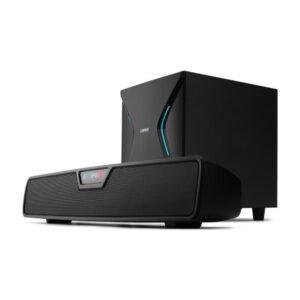 "BOXE EDIFIER Gaming Soundbar, RMS: 86W (2 x 18W, 1 x 50W), bass 7″, inalte 2.75″, control volum, BT/USB/OPT/AUX, sound mode: Music/Game/Movie, 13 x LED RGB, frecv. raspuns 44Hz-20KHz, 220V power, black, ""G7000-BK"" (include TV 0.75 lei)"