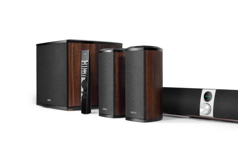 """BOXE EDIFIER soundbar, bluetooth 4.1, RMS: 202W (2x12W,2x32W,2x22W,1x70W) sistem 4.1, woofer 8″, bass 2.75″, inalte 0.75″,frecv.raspuns40Hz-20KHz,HDMI/Line-in/AUX/optic/coax, tel wireless, brown, """"S90HD-BR"""" (include TV 1.5 lei)"""