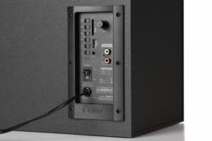 "BOXE EDIFIER 2.1, RMS: 48W (2 x 12W, 1 x 24W), bluetooth, volum, bass, black; raport semnal-zgomot: #85dBA, frecventa raspuns – sateliti: 210Hz – 20kHz, subwoofer: 20Hz – 120kHz, cu port USB/SD, black, ""XM6BT-BK"" (include TV 8 lei)"