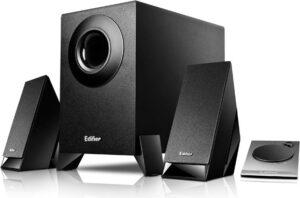 "BOXE EDIFIER 2.1, RMS: 8.5W (2 x 2W, 1 x 4.5W), telecomanda pe fir, black; raport semnal-zgomot: #85dBA, frecventa raspuns – sateliti: 150Hz – 20kHz, subwoofer: 20Hz – 170kHz, black, ""M1360"" – 392150 M1360 (include TV 3 lei)"
